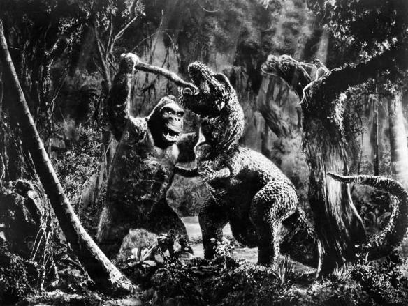 king kong fighting t-rex