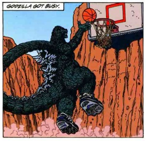 Later movies in the series would deal with equally grim topics, like whether or not Godzilla can dunk.