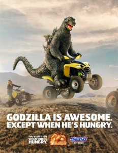 godzilla four-wheeler snickers