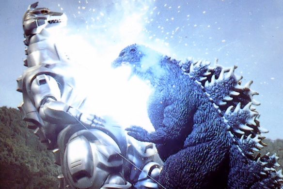 Mechagodzilla learning the hard way to give your friends plenty of room when they're attempting the cinnamon challenge.