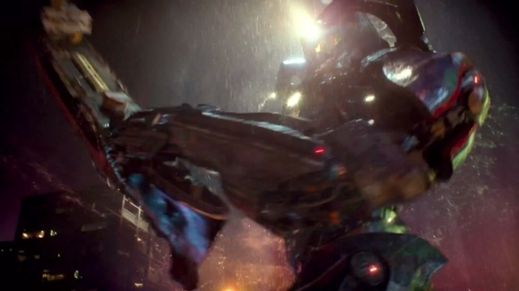 Pacific  Rim deals with  equally grim topics, like rocket punching  glowy monsters and using cargo ships as baseball bats.