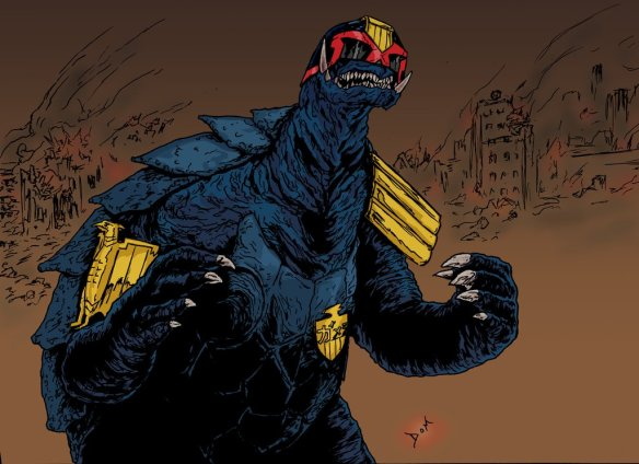 For no reason at all, here is a picture of Gamera dressed up like Judge Dredd. Being on the internet is like taking crazy pills.