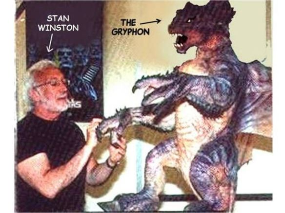 Stan Lee, shown here gossiping with the Gryphon while giving it French tip nails.