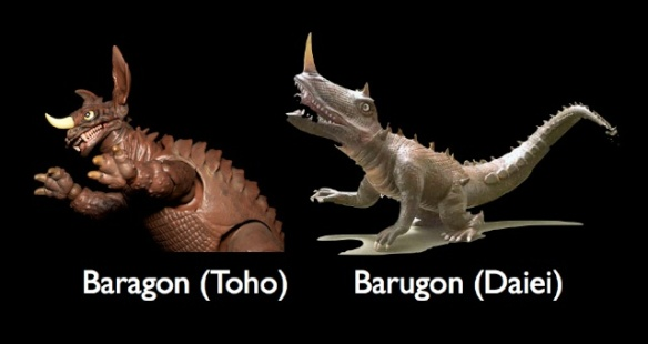 Not to be confused with the Gamera villain Barugon, which definitely wasn't a trashy attempt to cash-in on Baragon's strange cult popularity with Japanese audiences.