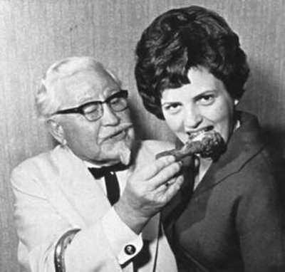 Just for funsies, here's Colonel Sanders seducing the shit out of Peggy from Mad Men.  EAT THAT CHICKEN GIRL