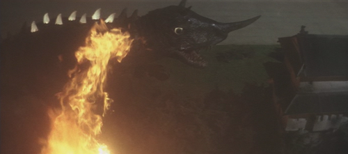 I always respected how Daiei just straight up mounted a flame-thrower in Gamera's mouth and called it a day. Also, POV shot in a kaiju fight!