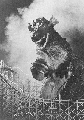 Is Ogra trashing a roller coaster a nod to the Beast from 20,000 Fathoms rampaging through Coney Island?